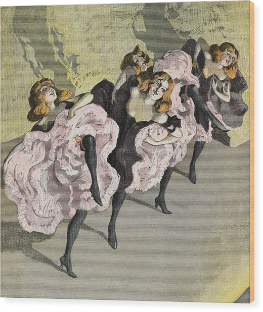 Four Girls Dancing Cancan Wood Print by Bettmann