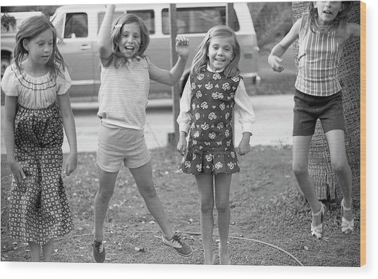 Four Girls, Jumping, 1972 Wood Print