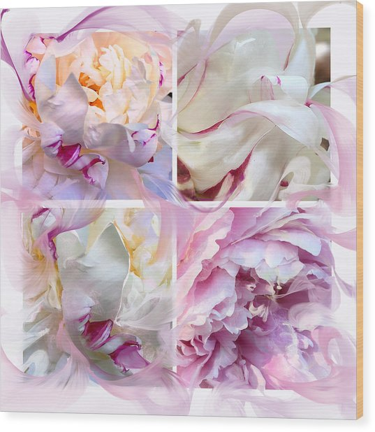 Four Peonies  Wood Print