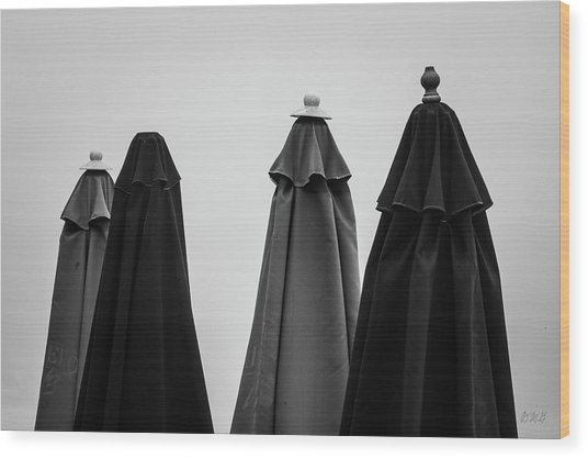 Wood Print featuring the photograph Four Umbrellas Bw by David Gordon