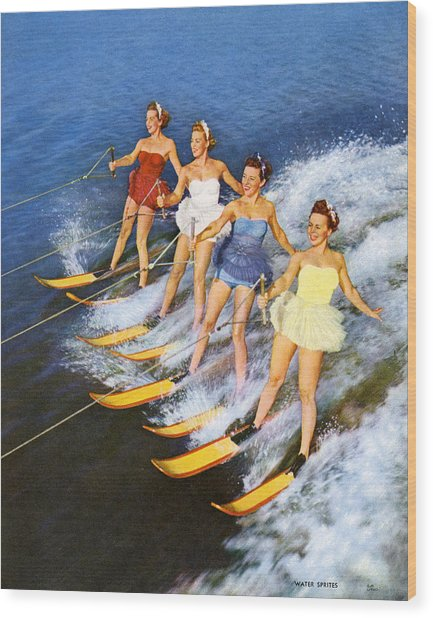 Four Women Waterskiing Wood Print