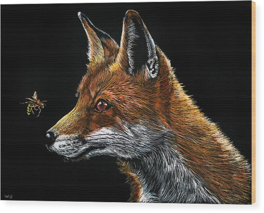 Fox And Hornet Wood Print
