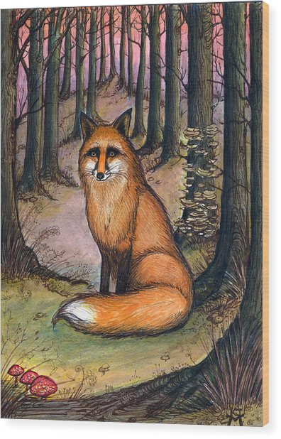 Fox In The Woods Wood Print
