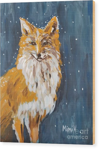 Fox Winter Night Wood Print
