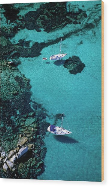 France, Corse Du Sud, Boats Anchored In Wood Print by Rieger Bertrand / Hemis.fr