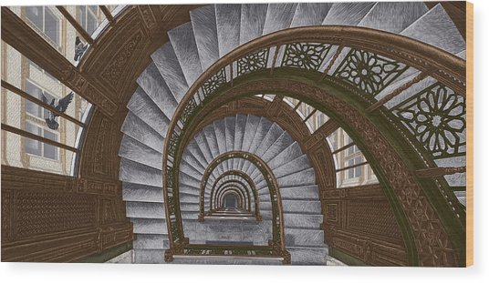 Wood Print featuring the drawing Frank Lloyd Wright - The Rookery by Clint Hansen
