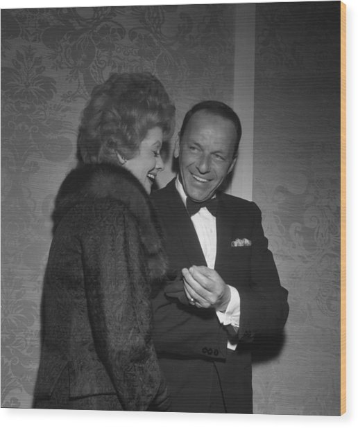 Frank Sinatra And Lucille Ball Wood Print by Michael Ochs Archives