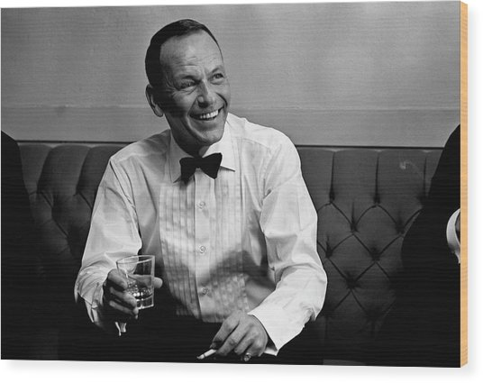 Frank Sinatra Backstage At The Sands Wood Print