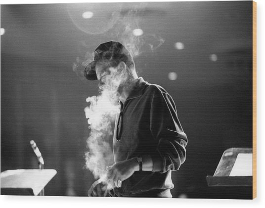 Frank Sinatra During Rehearsals Wood Print by John Dominis