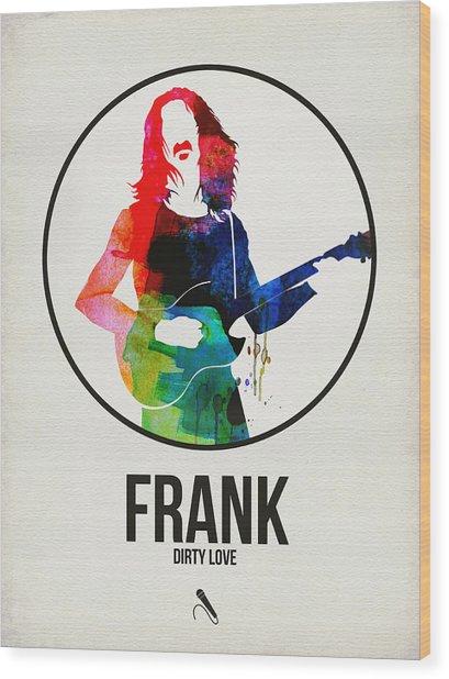 Frank Zappa Watercolor Wood Print