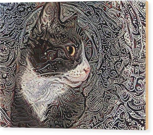 Franklyn The Tuxedo Cat Wood Print