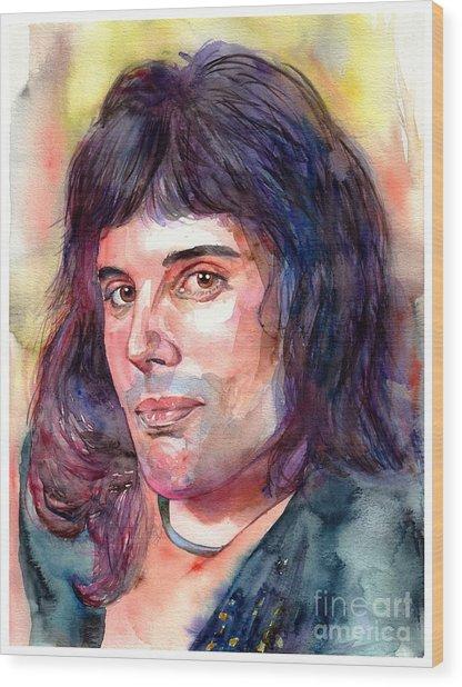 Freddie Mercury Young Wood Print