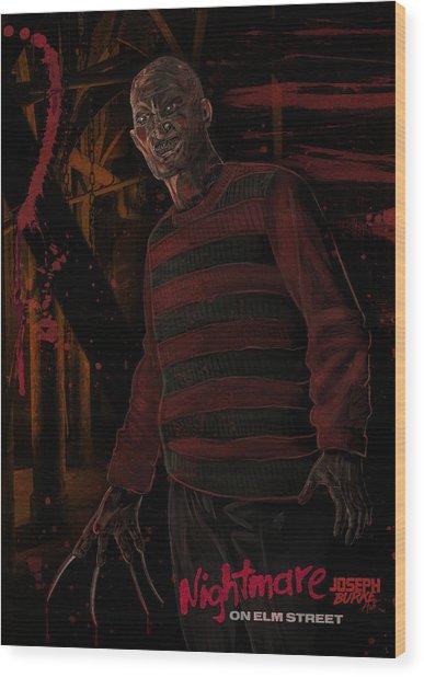 Freddy Krueger Wood Print by Joseph Burke