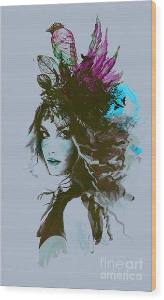 Free Hand Fashion Illustration With A Wood Print