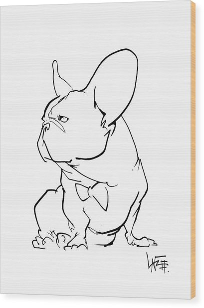 French Bulldog Gesture Sketch Wood Print