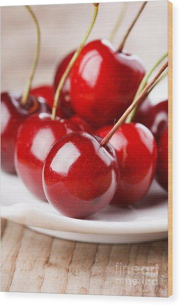 Fresh Cherries Wood Print