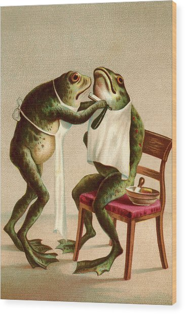 Frog Getting A Shave Wood Print by Graphicaartis