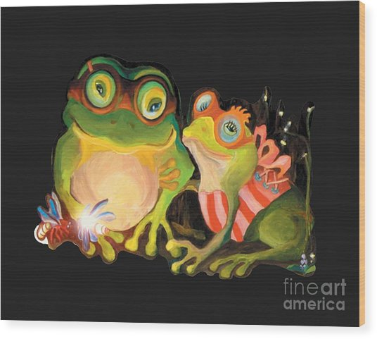 Frogs Overlay  Wood Print