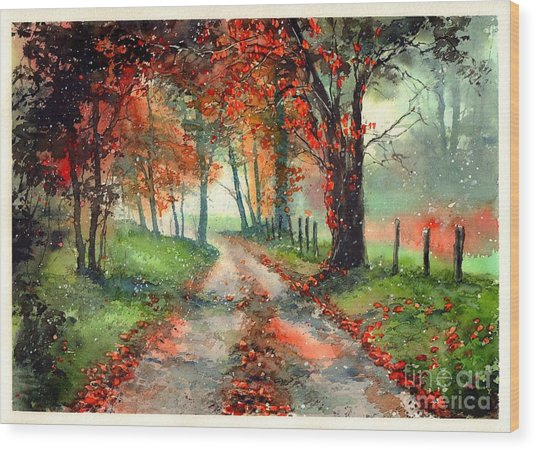 Frosty Autumn Patch Wood Print