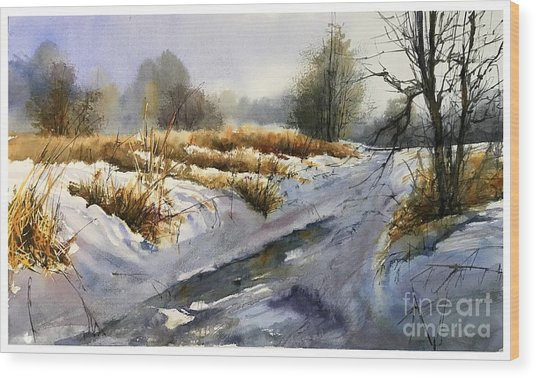 Frozen Brook Wood Print