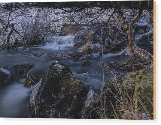 Frozen River And Winter In Forest. Long Exposure With Nd Filter Wood Print