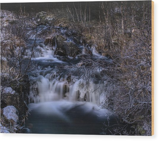 Frozen River In Forest - Long Exposure With Nd Filter Wood Print