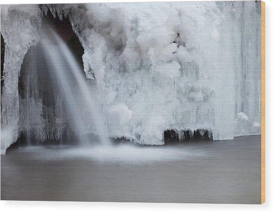 Frozen Waterfall Wood Print by Terryfic3d