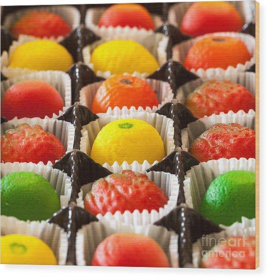 Fruit Shaped Candies In Macro Image Of Wood Print