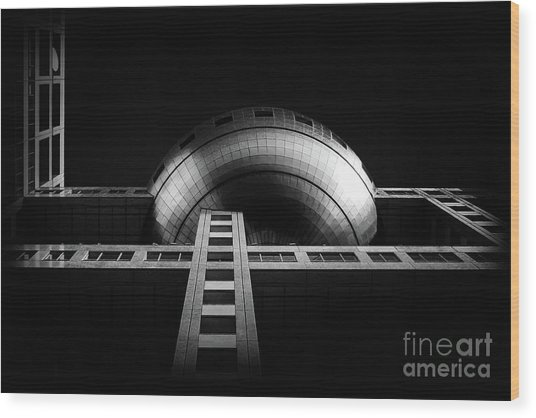 Fuji Tv Building In Tokyo Wood Print by Delphimages Photo Creations