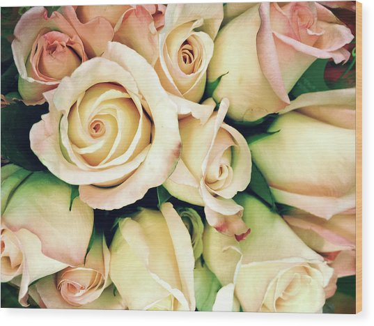Full Frame Cross Processed Rose Bouquet Wood Print by Travelif