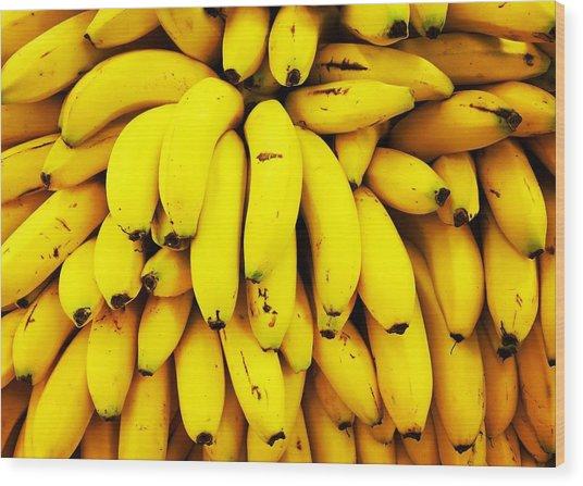 Full Frame Shot Of Yellow Bananas Wood Print by Daisy De Los Angeles / Eyeem
