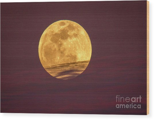 Full Moon Above Clouds Wood Print