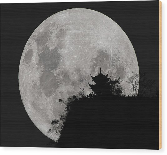 Wood Print featuring the photograph Full Moon Behind Clifftop Gazebo In Chengdu China by William Dickman