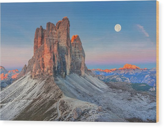 Full Moon Morning On Tre Cime Di Lavaredo Wood Print