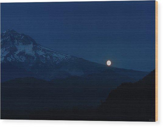 Full Moon On Mt. Hood Flanks Wood Print