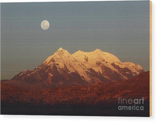 Full Moon Rise Over Mt Illimani Wood Print