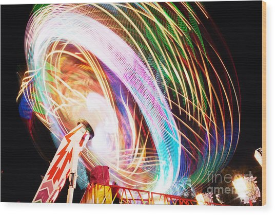 Fun Fair, Long Exposure. Colourful Wood Print