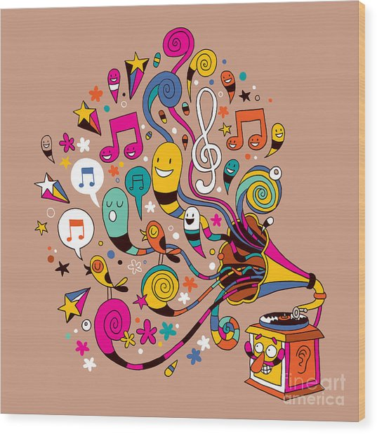Fun Gramophone Wood Print