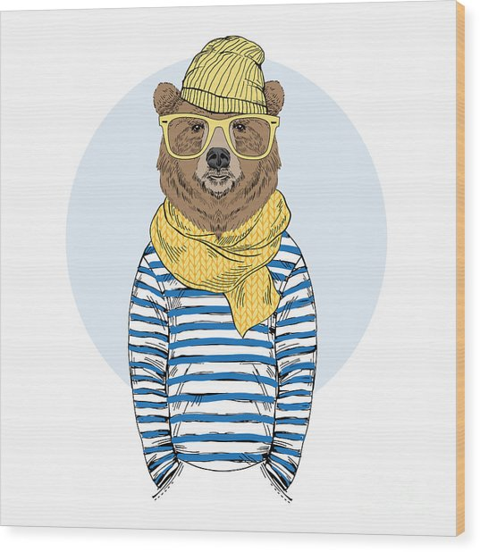 Funny Bear Dressed Up In Frock, Furry Wood Print