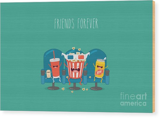 Funny Characters Cola, Ticket, Popcorn Wood Print