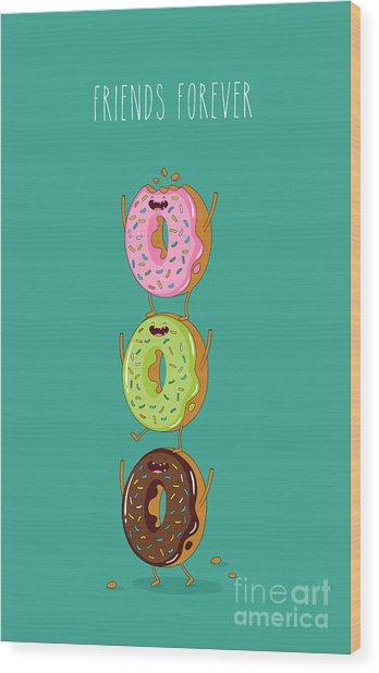 Funny Donuts. Vector Illustration Wood Print