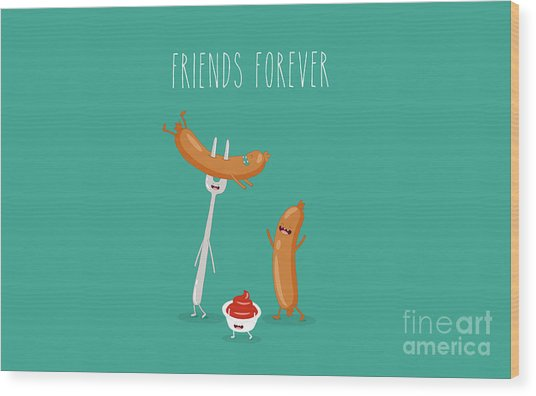 Funny Sausage On A Fork With Ketchup Wood Print