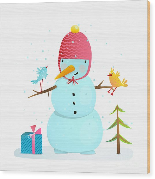Funny Snowman With Birds Present And Wood Print