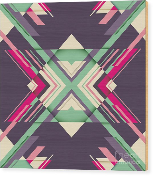Futuristic Abstraction With Geometric Wood Print