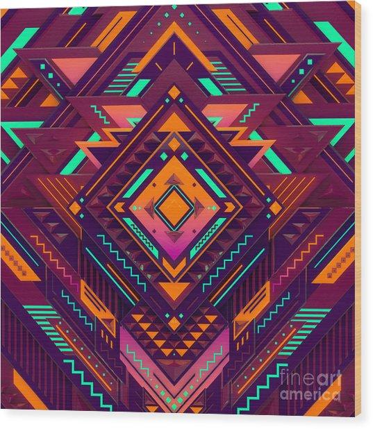 Futuristic Colorful Pattern. Triangles Wood Print