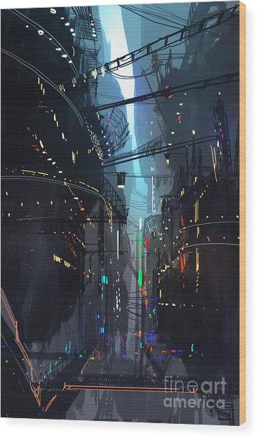Futuristic Floating City,landscape Wood Print