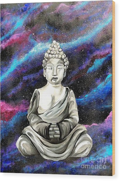 Galaxy Buddha  Wood Print