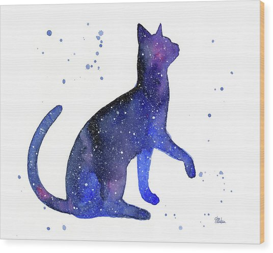 Galaxy Cat Wood Print