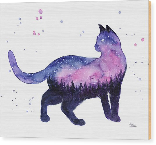 Galaxy Forest Cat Wood Print