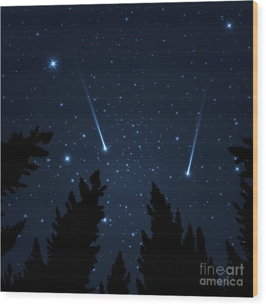 Galaxy With Framed With Pine Trees Wood Print